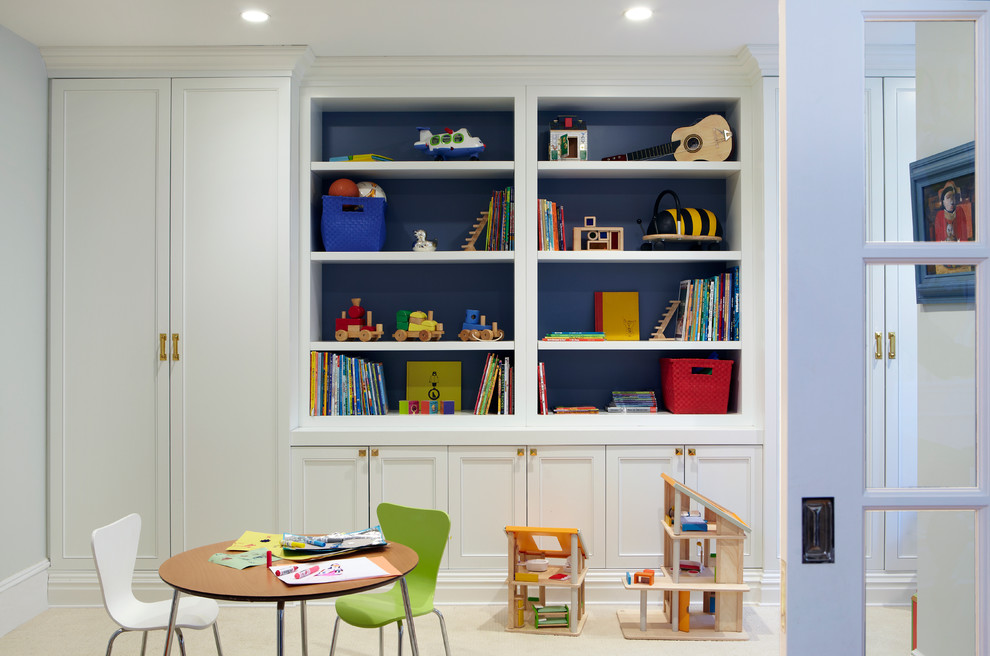 Inspiration for a contemporary gender-neutral carpeted playroom remodel in New York with white walls