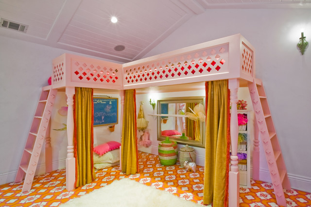 Menlo Park Fantasy Girls Playroom with Custom Loft Bed Eclectic