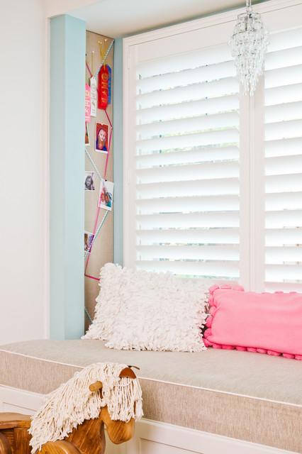 Menlo Park Girl's Bedroom with Custom Stencilled Walls eclectic-kids
