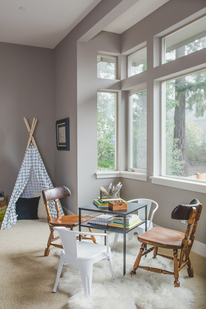 Inspiration for a transitional carpeted and beige floor playroom remodel in Seattle with gray walls