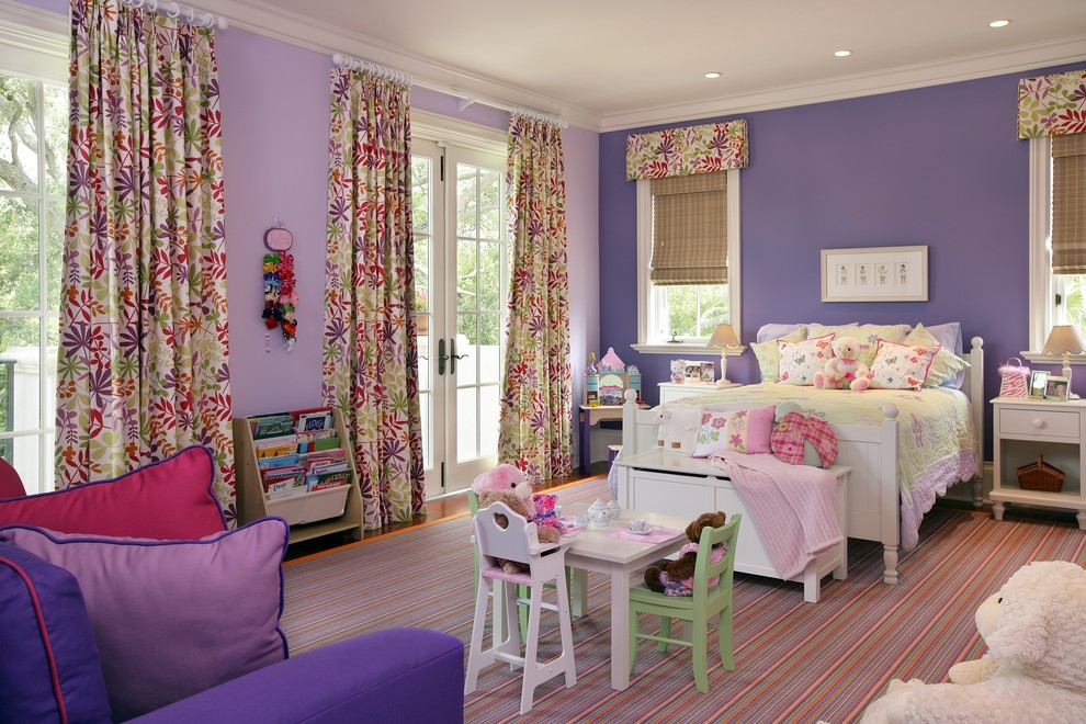 Kids' room - traditional kids' room idea in Miami with purple walls