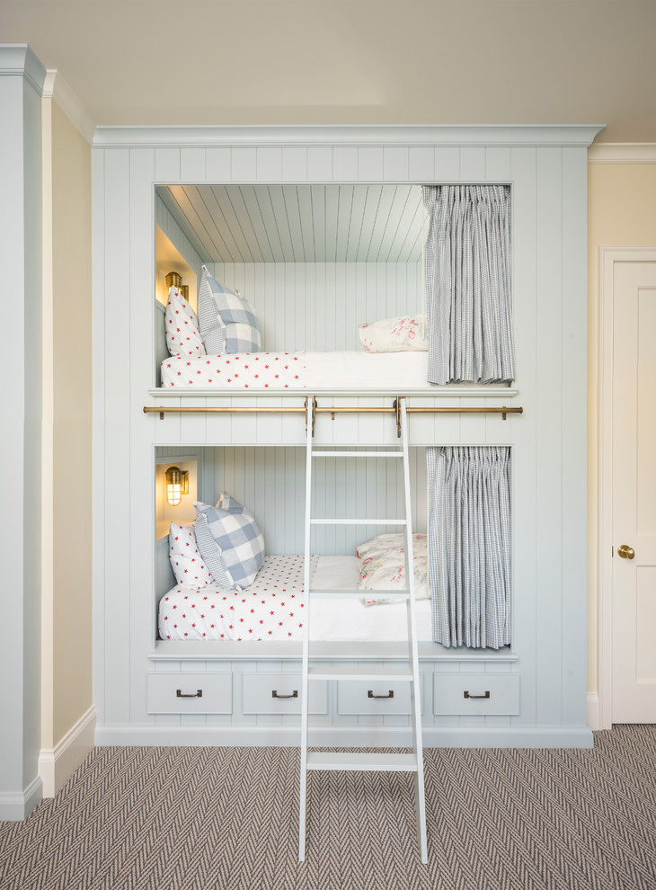 Country girl carpeted kids' bedroom photo in Salt Lake City with yellow walls