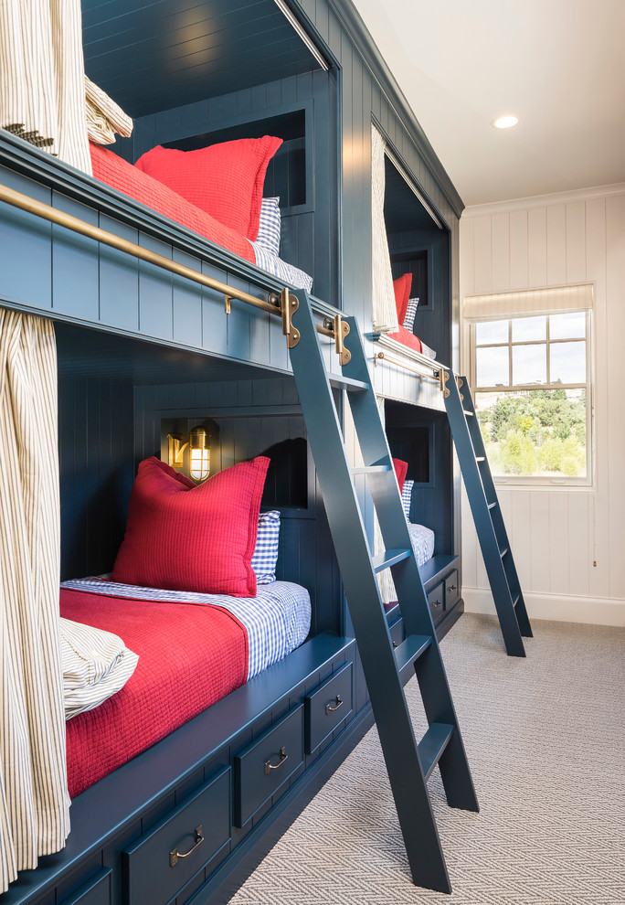 Inspiration for a farmhouse gender-neutral carpeted kids' bedroom remodel in Salt Lake City with white walls