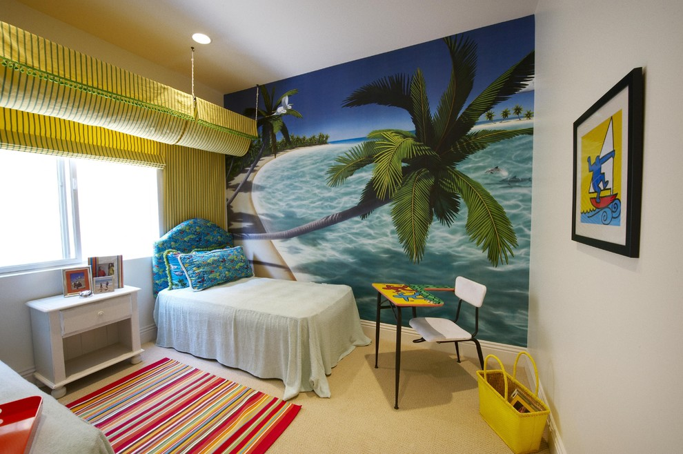 Island style gender-neutral carpeted kids' room photo in Los Angeles with multicolored walls
