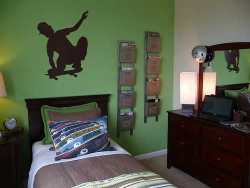 Teenage boys skateboard bedroom