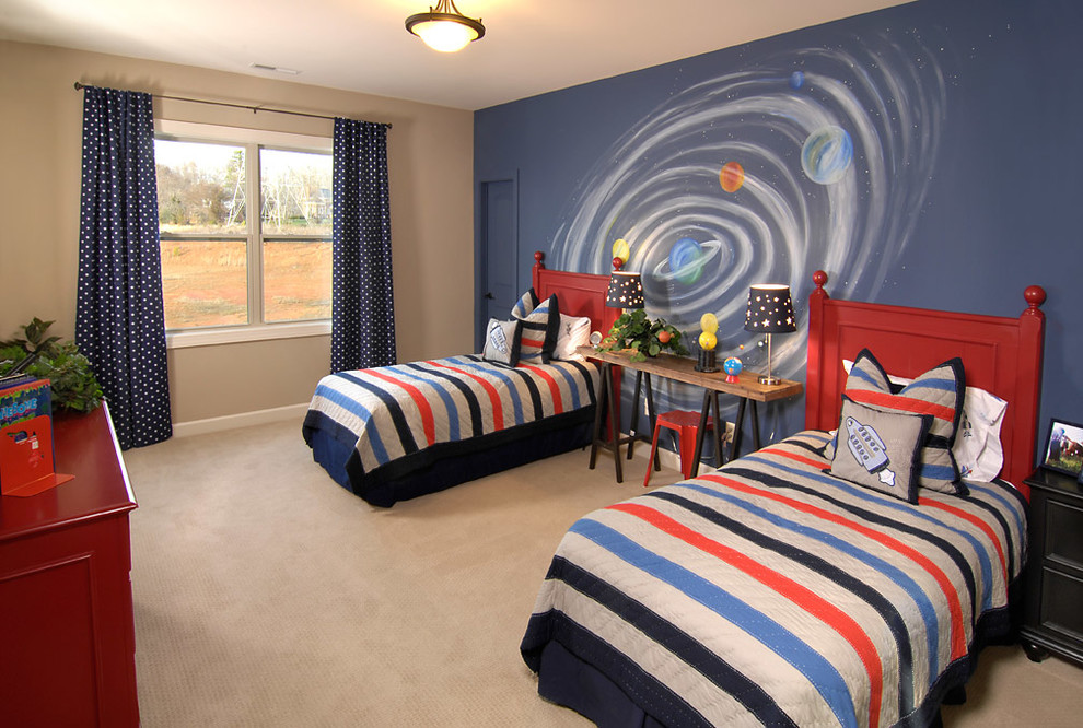 Kids' room - mid-sized traditional boy carpeted and beige floor kids' room idea in Charlotte with beige walls