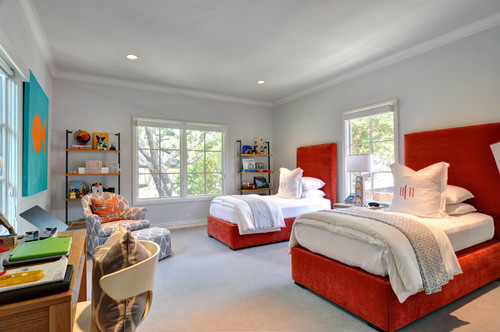 Gray Teen Room with Red bedframe