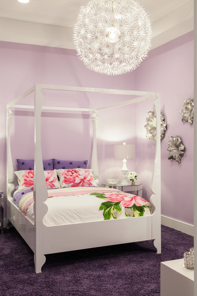 Inspiration for a contemporary girl carpeted teen room remodel in Miami with purple walls