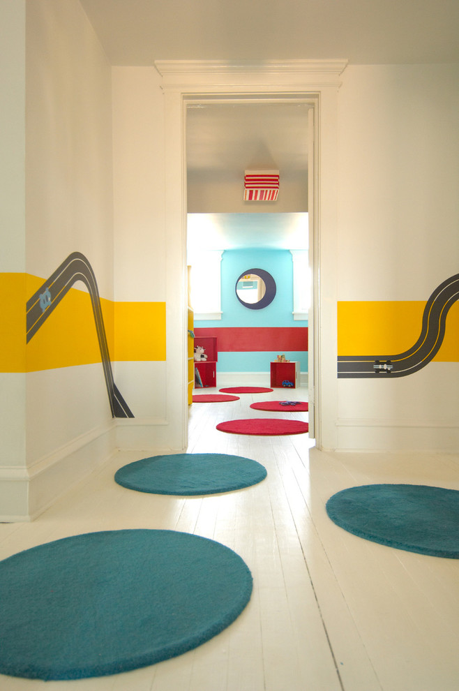 Inspiration for a modern painted wood floor and white floor kids' room remodel in Other