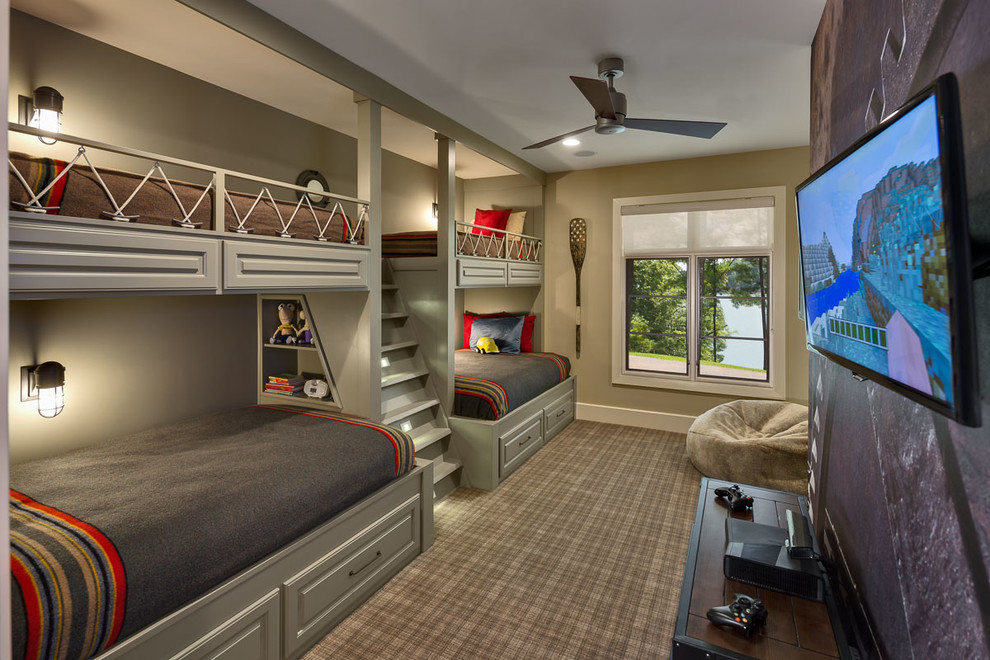 Kids' bedroom - large rustic gender-neutral carpeted kids' bedroom idea in Atlanta with beige walls