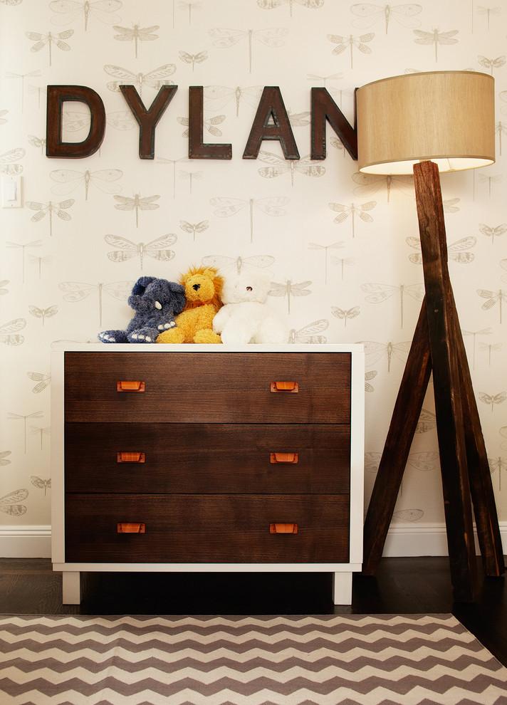 Mid-sized transitional boy dark wood floor kids' room photo in San Francisco with beige walls