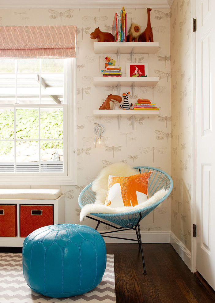 Inspiration for a mid-sized transitional boy dark wood floor kids' room remodel in San Francisco with white walls