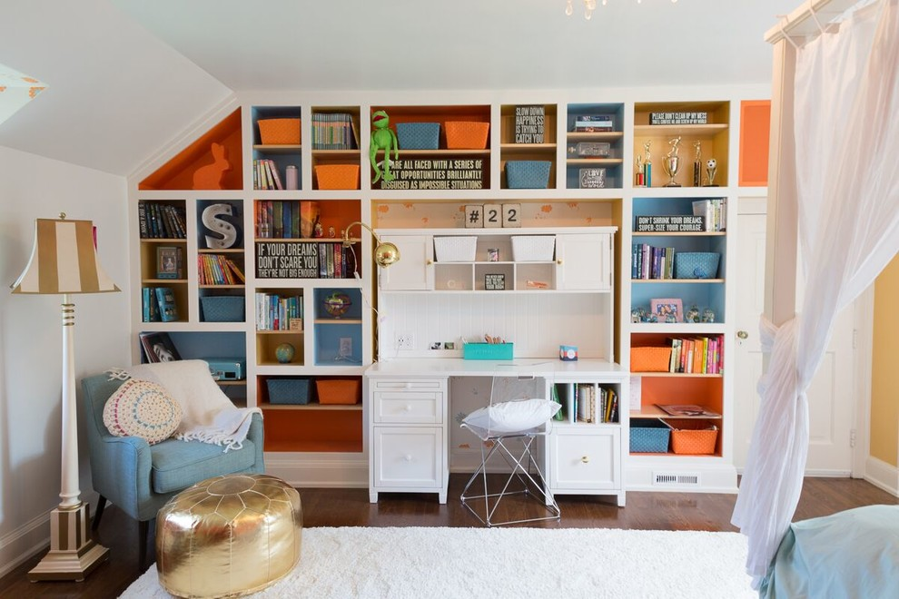 Inspiration for a mid-sized timeless girl dark wood floor kids' room remodel in Philadelphia with multicolored walls