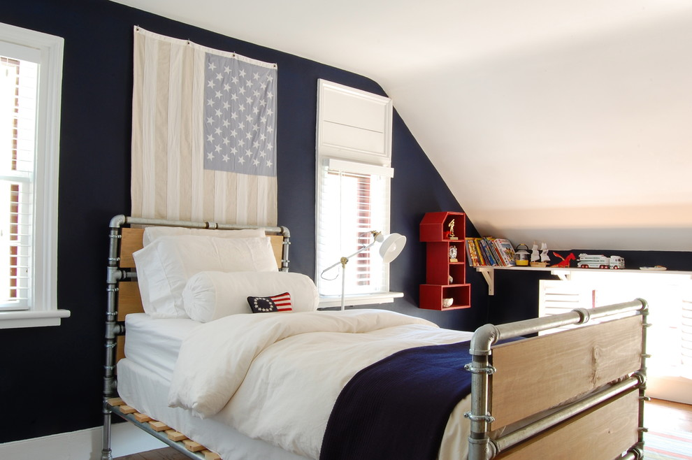 Country kids' bedroom photo in New York with blue walls