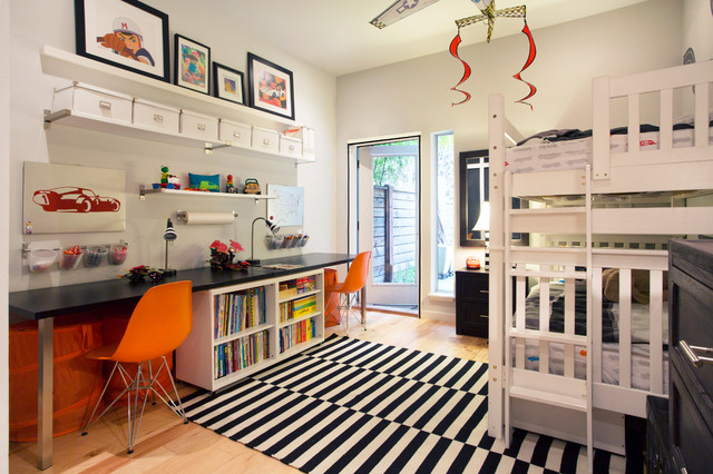 Shared Boys Geometrical Bedroom: My Houzz: A Shared Boys' Bedroom That's Right On Track