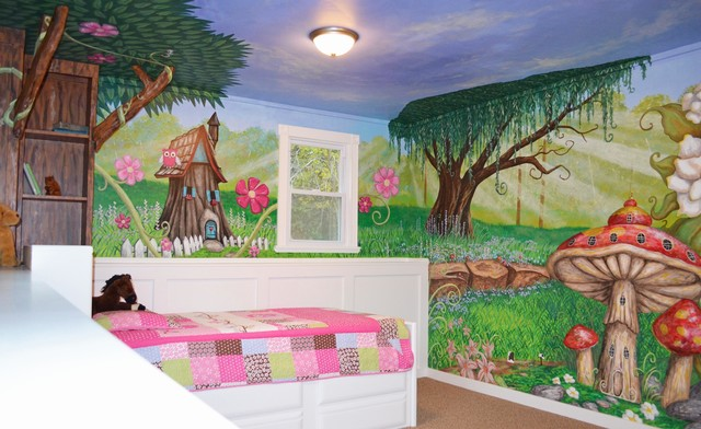 My houzz an enchanted forest bedroom traditional kids for Enchanted forest wall mural