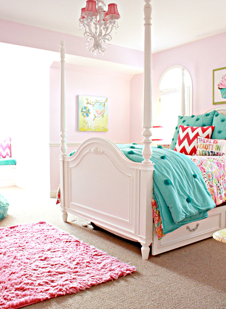 Kids' bedroom - traditional girl carpeted kids' bedroom idea in Tampa with pink walls