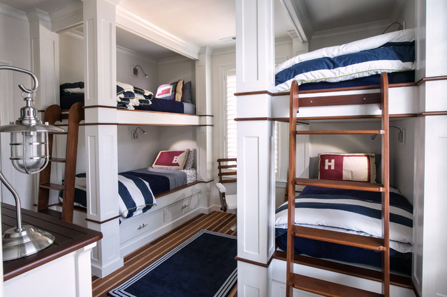 Nautical Bunkroom Beach Style Kids Raleigh By