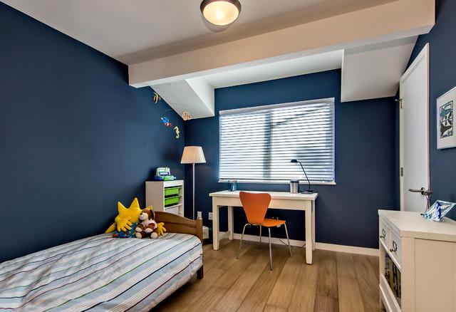 Navy Blue Boy Bedroom with Shed Dormer - Midcentury - Kids ...