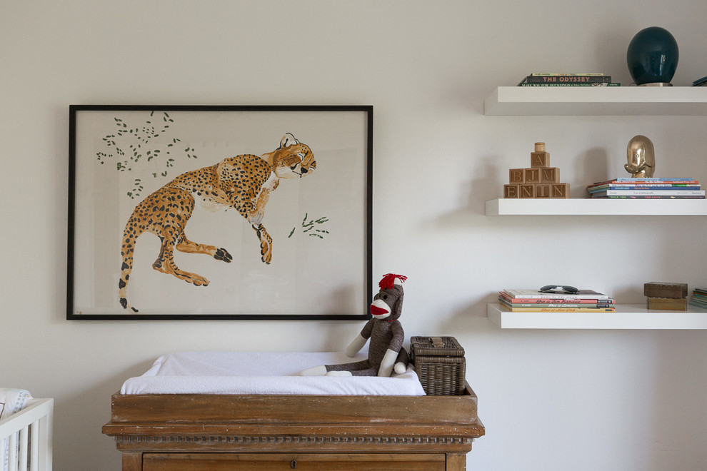 Inspiration for a mid-sized eclectic gender-neutral kids' room remodel in San Francisco with white walls