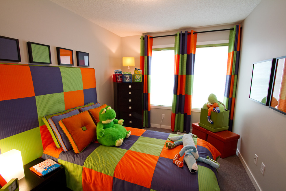 Inspiration for a contemporary gender-neutral carpeted kids' room remodel in Calgary with gray walls