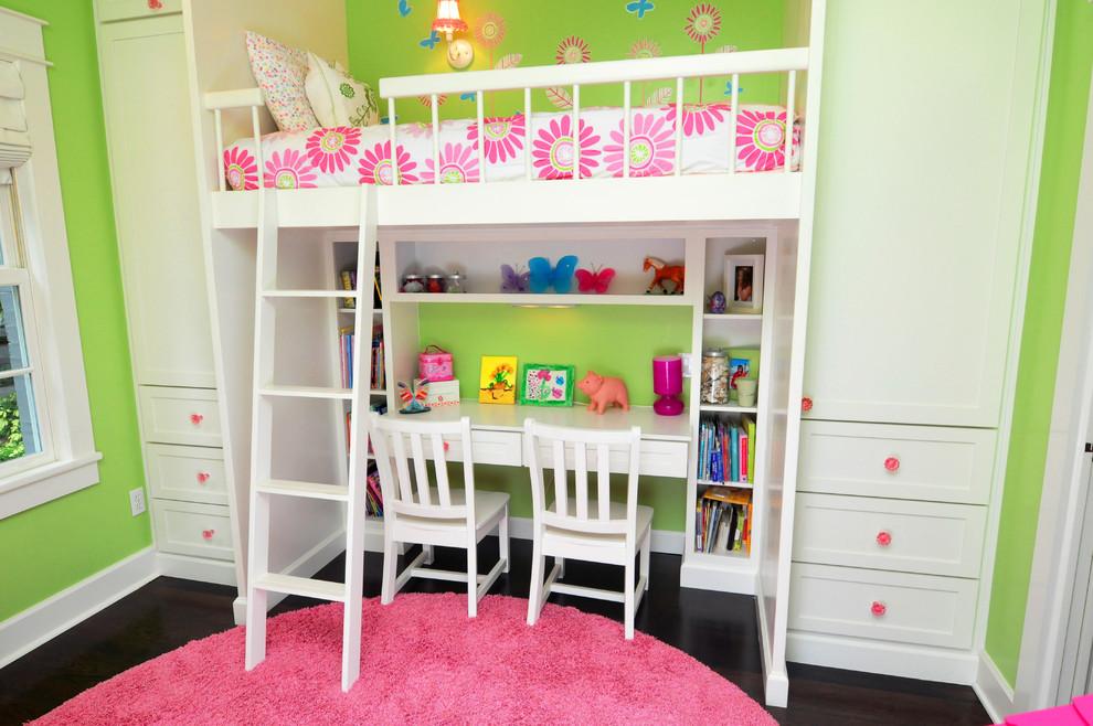 Mid-sized elegant girl dark wood floor and brown floor kids' room photo in Tampa with green walls