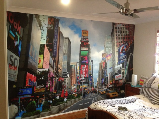 New york mural cityscape contemporary kids for Cityscape mural
