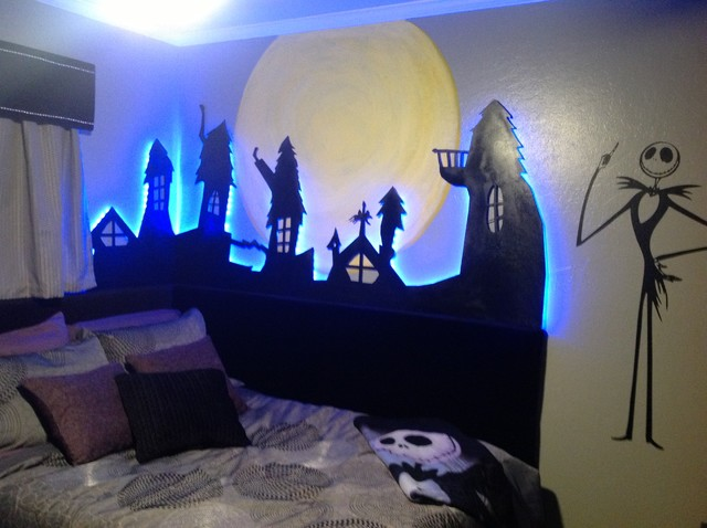 Decorating bedroom with christmas lights - Nightmare Before Christmas Eclectic Kids