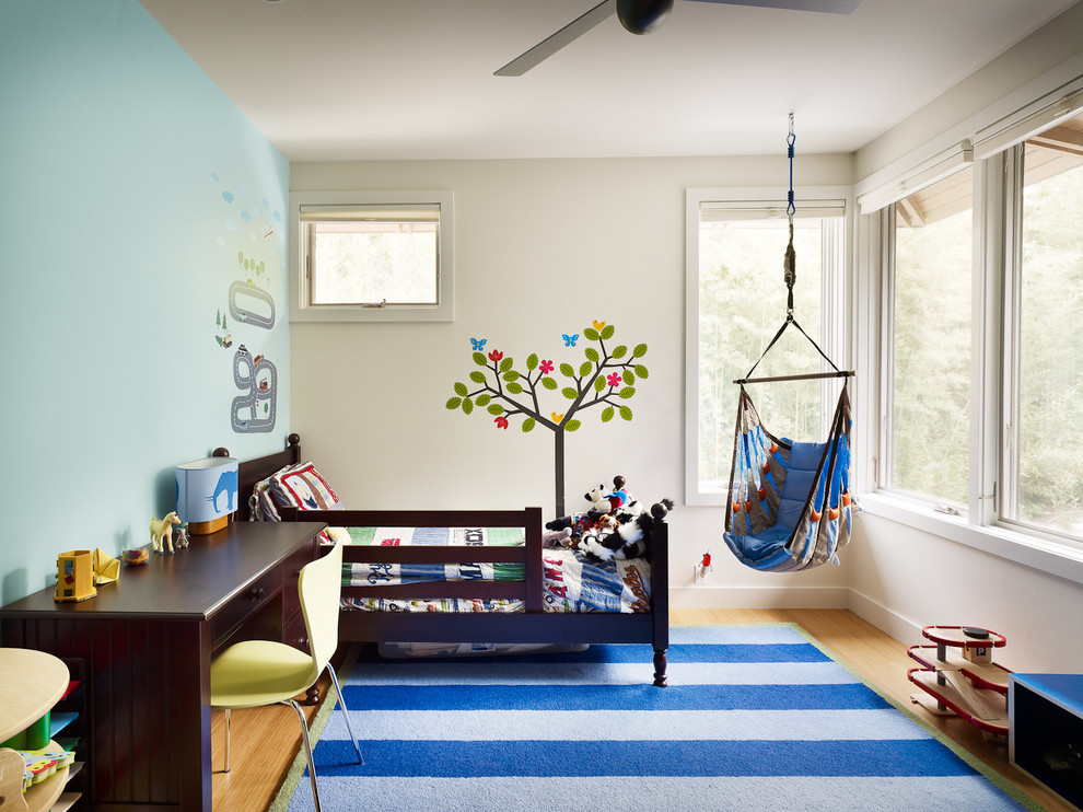 Example of a transitional boy medium tone wood floor kids' room design in Austin with multicolored walls