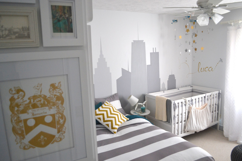 Kids' room - mid-sized contemporary boy carpeted and beige floor kids' room idea in Omaha with gray walls