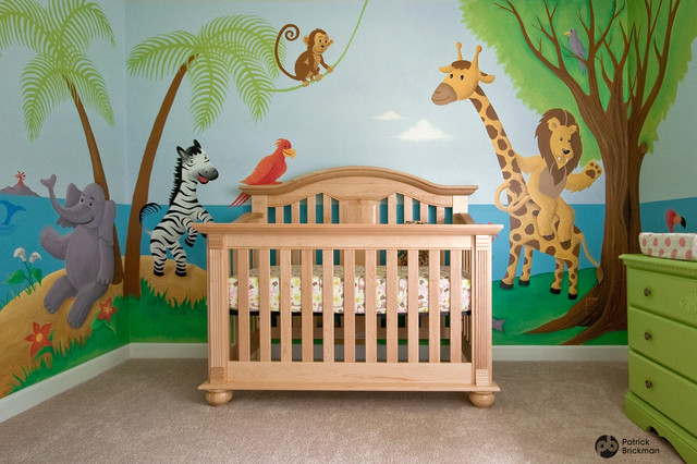 Nursery mural noah 39 s ark jungle animals eclectic for Baby jungle safari wall mural