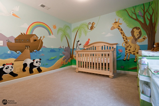 Nursery mural noah 39 s ark jungle animals eclectic for Baby jungle mural