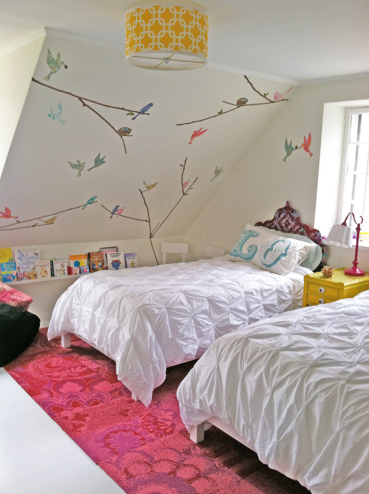 Kids' bedroom - contemporary girl painted wood floor kids' bedroom idea in New York with white walls