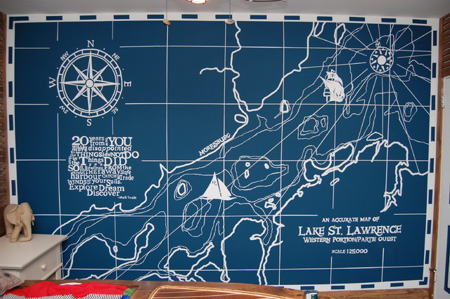 Oliver Laurins Nautical themed toddler bedroom traditional-kids