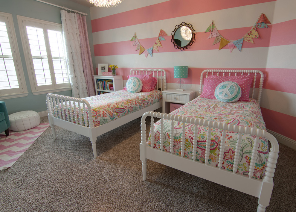 Kids' room - traditional girl carpeted kids' room idea in Dallas with multicolored walls