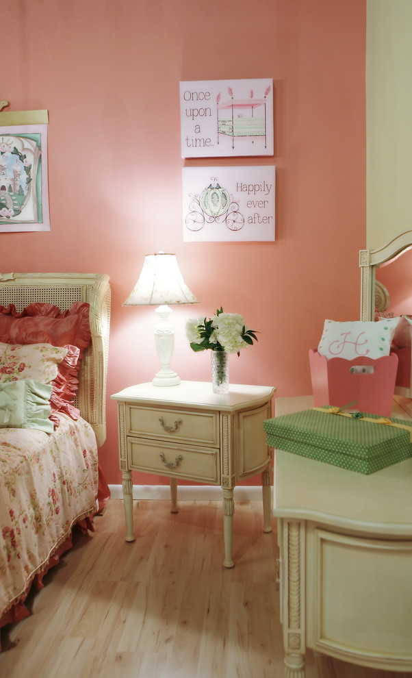 Kids' room - shabby-chic style girl light wood floor kids' room idea in Miami with pink walls