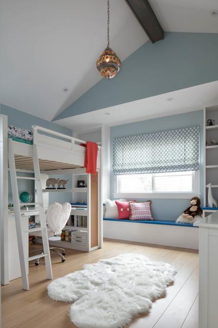Kids' room - transitional girl light wood floor kids' room idea in San Francisco with blue walls