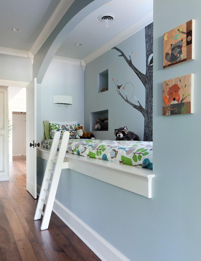 Example of a classic gender-neutral dark wood floor kids' bedroom design in Nashville with blue walls