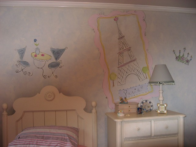 Paris themed bedroom traditional kids