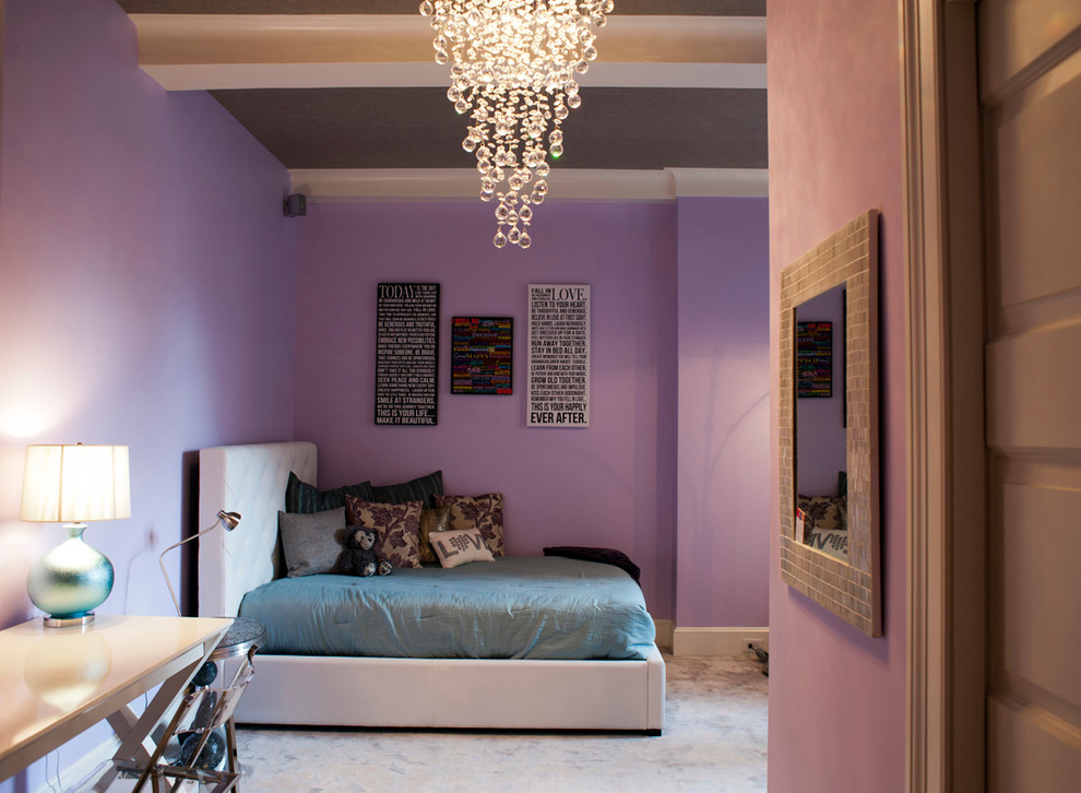 Kids' room - contemporary carpeted kids' room idea in New York with purple walls
