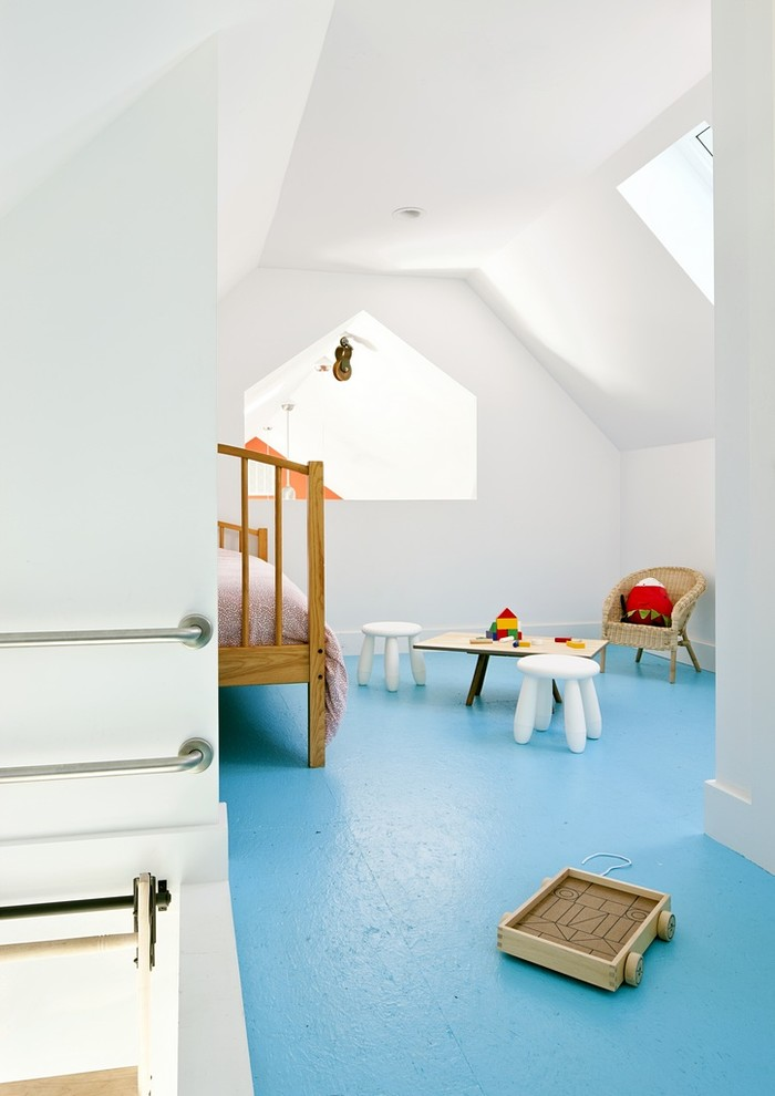 Cottage blue floor playroom photo in Providence