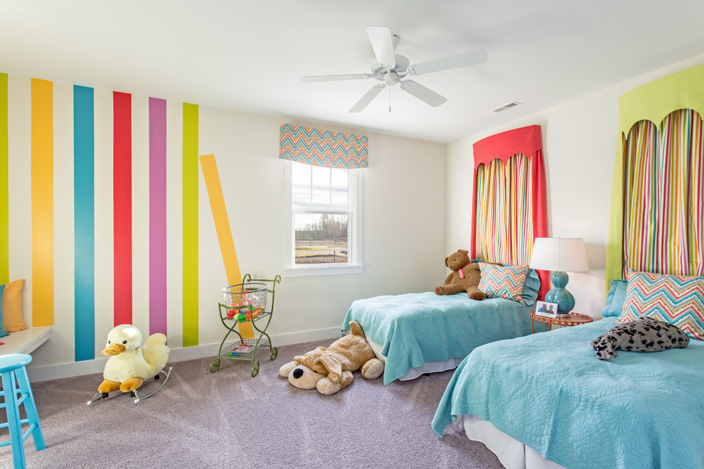 Beach style gender-neutral carpeted and gray floor kids' room photo in Richmond with multicolored walls