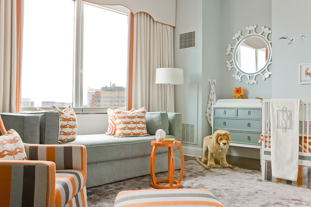 Kids' room - transitional kids' room idea in Boston with blue walls