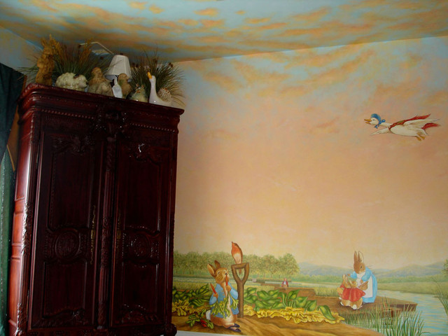Peter rabbit mural inspired by beatrix potter eclectic for Beatrix potter mural wallpaper