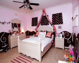 Pink and brown girl 39 s room kids portland by fontana for Brown and pink bedroom ideas for a girl