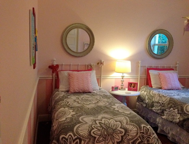 Pink and Gray Girls Room contemporary-kids