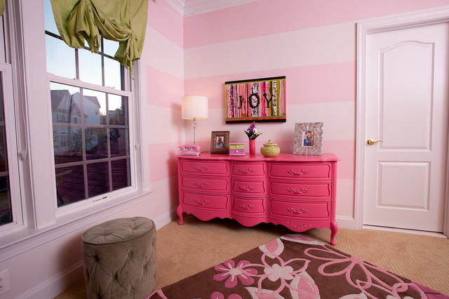 Pink and green girls room contemporary-kids