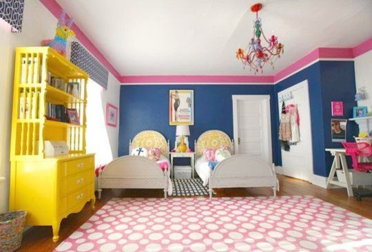 Pink And Navy S Room Transitional Kids