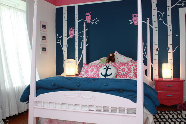 pink and navy teen girls room transitional kids
