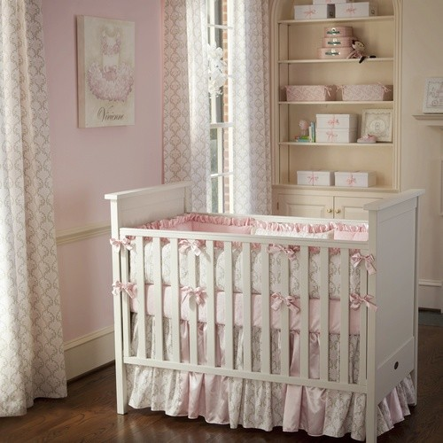 Pink And Taupe Damask Crib Bedding Collection By Carousel